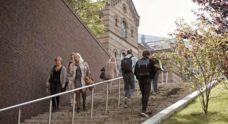 Studerende på trappe